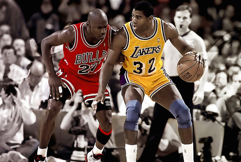 Michael Jordan and Magic Johnson   Poster 24x36