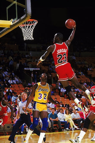 Michael Jordan and Magic Johnson Dunk   Poster 24x36