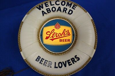Welcome Aboard Stroh's Beer Mirror Sign