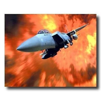 F-15 A Eagle With Flame Fighter Jet Military Planes Poster