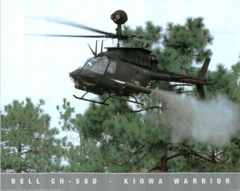 CH 58D Kiowa Warrior Helicopter Military Planes Poster