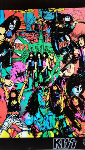 Kiss Band 1995 Rare Flocked Black Light Poster