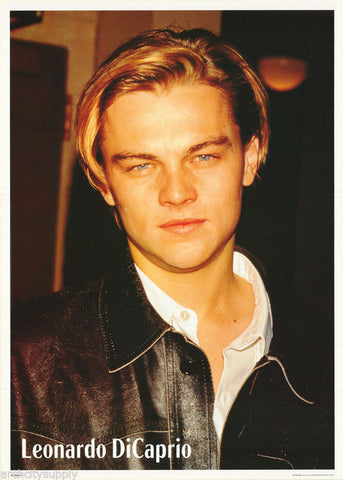 Leonardo DiCaprio Black Leather Jacket Young Rare Vintage Poster