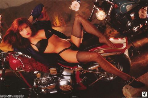 Playboy Model On Motorcycle 1991 Rare Poster