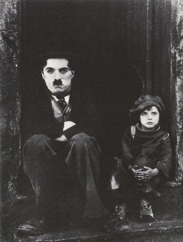 Charlie Chaplin The Kid Sitting On Steps Rare Vintage Poster