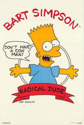 The Simpsons Bart Radical Dude Rare Vintage Poster