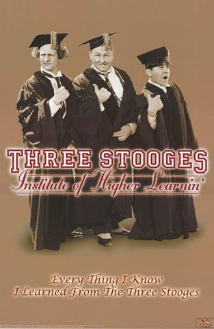 Three Stooges Higher Learning  Rare Vintage Poster