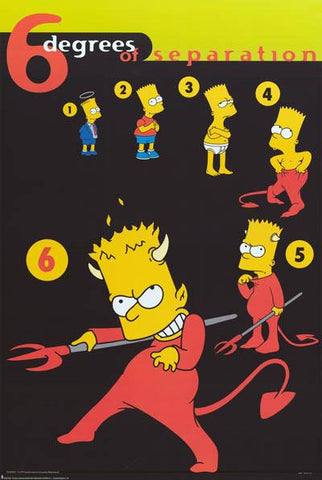 The Simpsons Bart Simpson 6 Degrees of Separation  Rare Vintage Poster