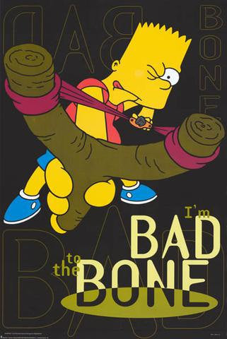 The Simpsons Bart Simpson Bad To The Bone  Rare Vintage Poster