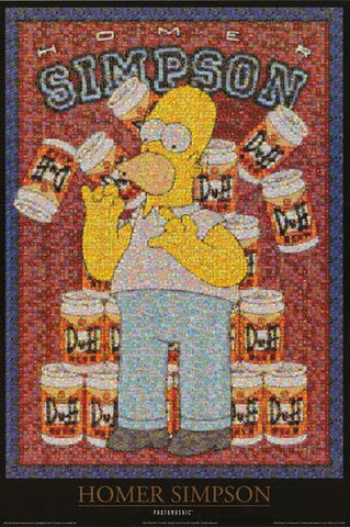The Simpsons Homer Simpson Photomosaic Duff Beer  Rare Vintage Poster