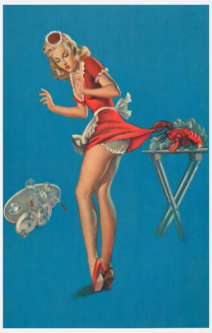Pin-Up Girl Waitress Lobster Pinch Rare Vintage Poster