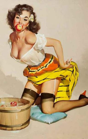 Pin-Up Girl Bobbing For Apples Rare Vintage Poster