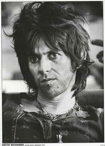 Rolling Stones Keith Richards 1976 B/W Rare Poster