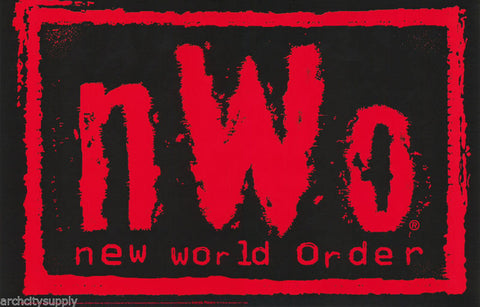 New World Order Logo Red Black Wrestling WCW - WWF - NWO   Poster
