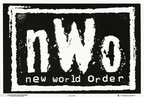 New World Order Logo Black White Wrestling WCW - WWF - NWO   Flocked Black Light Poster