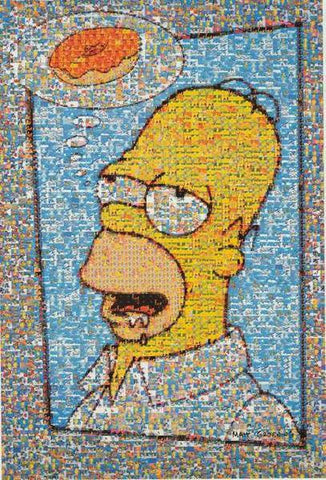 The Simpsons Homer Simpson Donut Photomosaic  Rare Vintage Poster