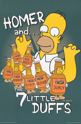 The Simpsons Homer Simpson 7 Little Duffs  Rare Vintage Poster