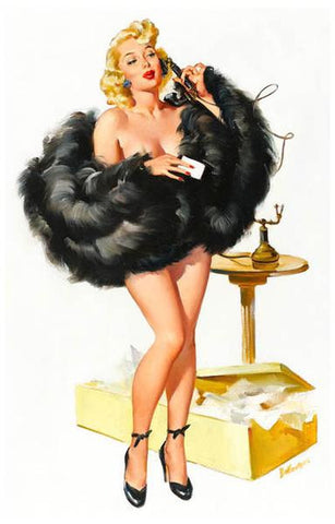 Pin-Up Girl On Telephone Rare Vintage Poster