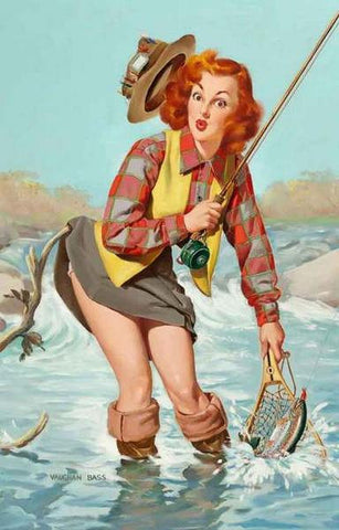 Pin-Up Girl Fishing Rare Vintage Poster