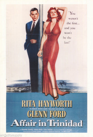Affair In Trinidad Rita Hayworth Glenn Ford Rare Vintage Poster