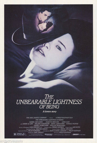 The Unbearable Lightness Of Being Daniel Day Lewis Juliette Binoche 1988  Rare Vintage Poster