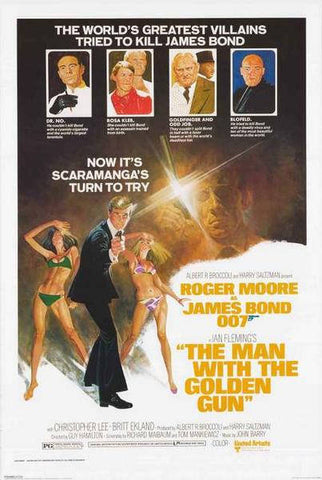 James Bond The Man With The Golden Gun Roger Moore  Rare Vintage Poster