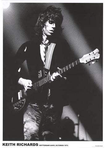 Rolling Stones Keith Richards B/W 1973 Rare Poster