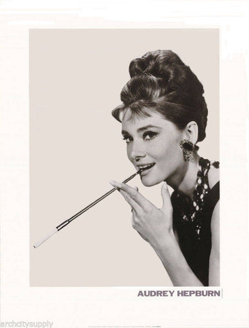 Audrey Hepburn Cigarette Holder  Close Up Rare Vintage Poster