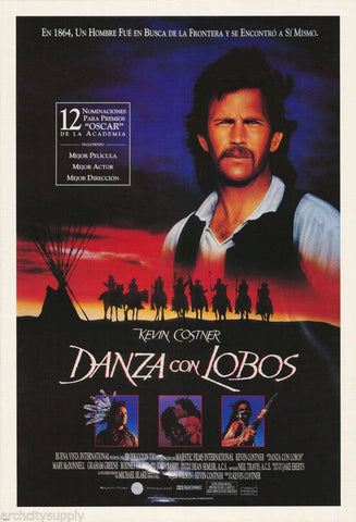 Kevin Costner Danza Con Lobos Dances With Wolves 1990  Rare Vintage Poster