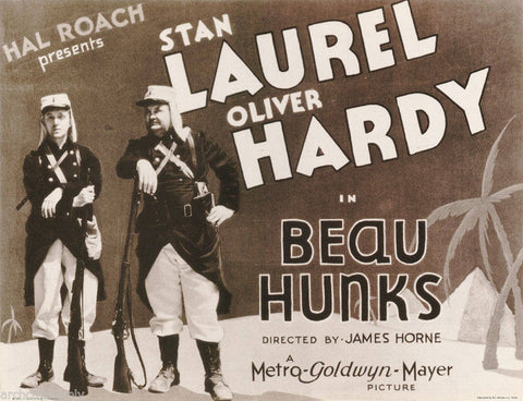 Laurel and Hardy Beau Hunks  Rare Vintage Poster