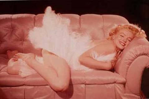 Marilyn Monroe On Pink Sofa  Rare Vintage Poster