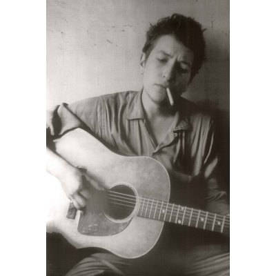Bob Dylan With Guitar and Cigarette B/W Rare Giant Poster
