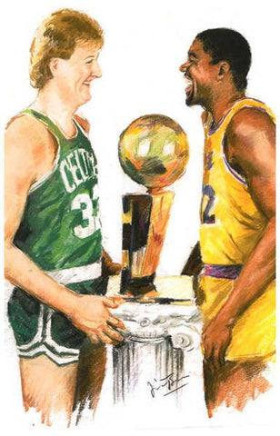 Larry Bird and Magic Johnson Boston Celtics and L.A. Lakers  Rare Vintage Poster