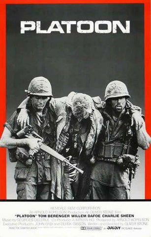 Platoon William Dafoe Charlie Sheen Tom Berenger Movie Rare Vintage Poster