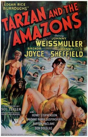 Tarzan and the Amazons Johnny Weissmuller  Movie  Rare Vintage Poster