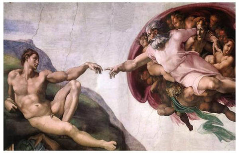 Michelangelo Creation Of Adam Art Rare Vintage Poster