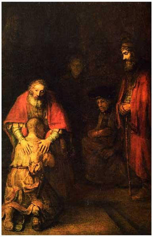 Rembrandt Return of the Prodigal Son Art Rare Vintage Poster
