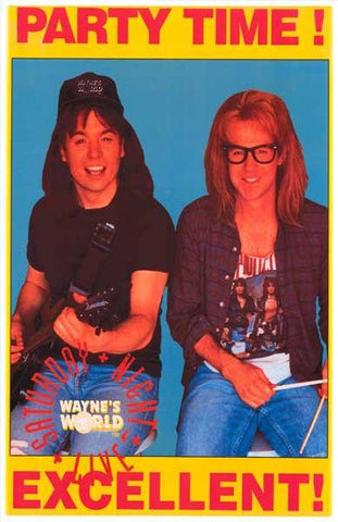 Wayne's World Party Time  Rare Vintage Poster