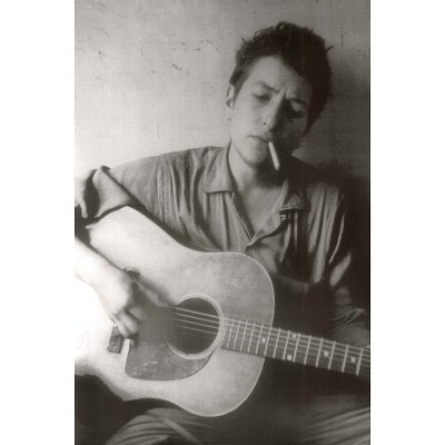 Bob Dylan With Guitar and Cigarette B/W Rare Poster
