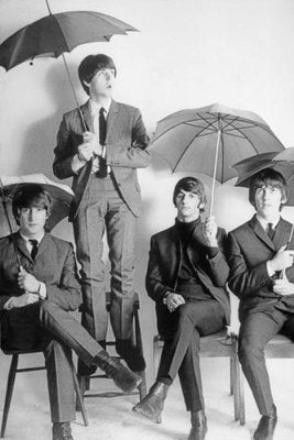 The Beatles B/W Umbrellas Rare Poster