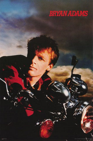Bryan Adams On Motorcycle 1985 Rare Poster