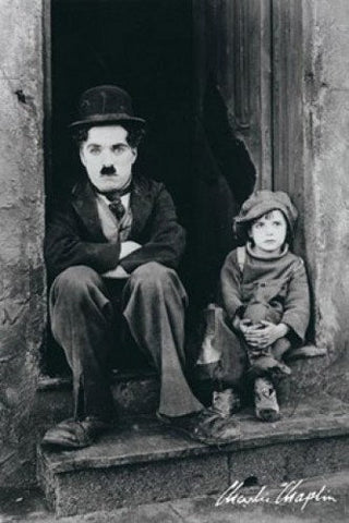 Charlie Chaplin The Kid Sitting On Steps  Rare Poster