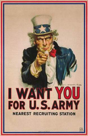 Uncle Sam I Want You for The U.S. Army   Rare Vintage Poster