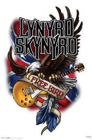 lynyrd Skynyrd Free bird Guitar and Eagle Rare Vintage Poster
