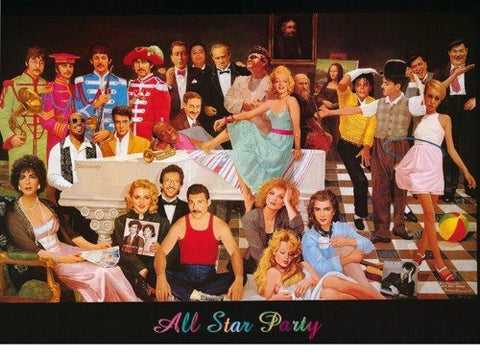 All Star Party Marilyn Monroe Elvis Beatles Michael Jackson and more  1994 Rare Vintage Poster