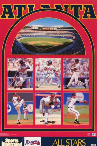 Atlanta Braves All Stars 1992  Rare Vintage Poster