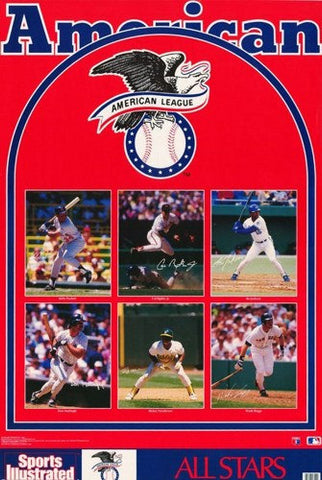 American League Baseball All Stars  1989  Rare Vintage Poster