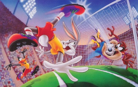 Looney Tunes Bugs Bunny Taz Daffy Duck Soccer Rare Vintage Poster