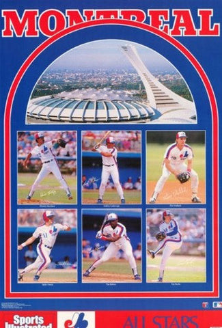 Montreal Expos Stars 1989 Rare Vintage Poster