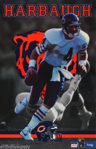 Jim Harbaugh Chicago Bears 1991 Rare Vintage Poster